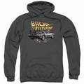 Back To The Future pull-over hoodie Time Machine adult charcoal
