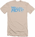 Back To The Future slim-fit t-shirt Hello Mcfly mens cream