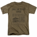 Back To The Future t-shirt Clock Tower mens safari green