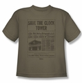 Back To The Future youth teen t-shirt Clock Tower safari green