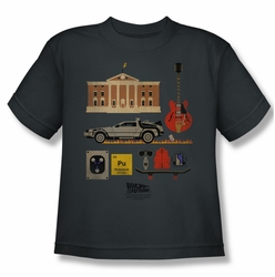 Back To The Future youth teen t-shirt Items charcoal