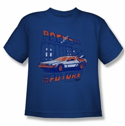 Back to the Future youth teen t-shirt Ligtning Strikes royal