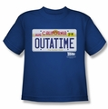 Back To The Future youth teen t-shirt Outatime Plate royal