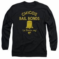 Bad News Bears adult long-sleeved shirt Chico's Bail Bonds black