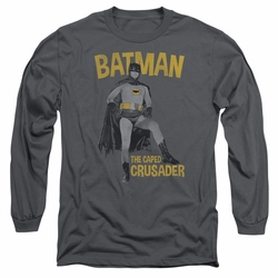 Batman 1966 Classic TV Series adult long-sleeved shirt Caped Crusader charcoal