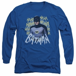 Batman 1966 Classic TV Series adult long-sleeved shirt Theme Song royal blue