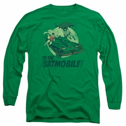 Batman 1966 Classic TV Series adult long-sleeved shirt To The Batmobile kelly green
