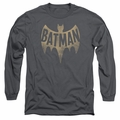 Batman 1966 Classic TV Series adult long-sleeved shirt Vintage Logo charcoal