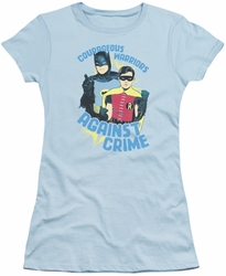Batman 1966 TV Series juniors t-shirt Courageous Warriors light blue