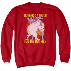 Batman adult crewneck sweatshirt Bear Wrastling red