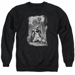 Batman adult crewneck sweatshirt Sketchy Shadows black