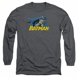 Batman adult long-sleeved shirt 8 Bit Cape charcoal