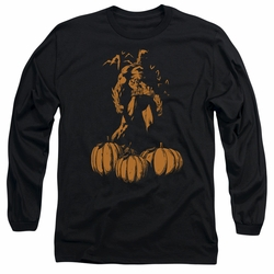 Batman adult long-sleeved shirt A Bat Among Pumpkins black