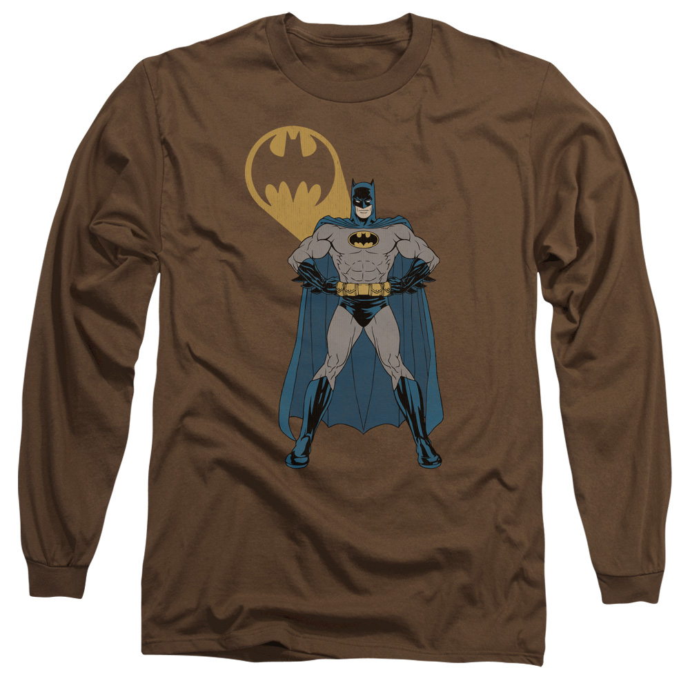 Batman Adult Long Sleeved Shirt Arms Akimbo Bats Coffee