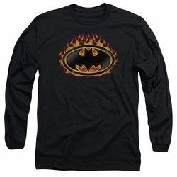Batman adult long-sleeved shirt Bat Flames Shield black