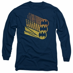 Batman adult long-sleeved shirt Bat Signal Shapes navy