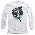Batman adult long-sleeved shirt Batarang Throw white