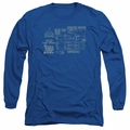 Batman adult long-sleeved shirt Batmobile royal blue