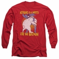 Batman adult long-sleeved shirt Bear Wrastling red