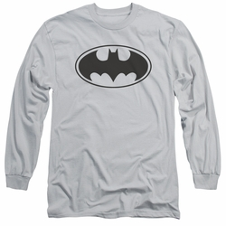 Batman adult long-sleeved shirt Black Bat silver