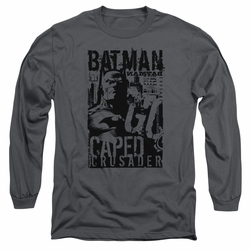 Batman adult long-sleeved shirt Caped Crusader charcoal