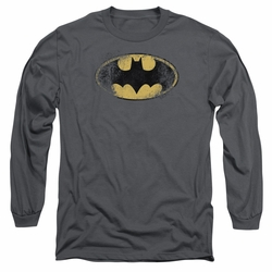 Batman adult long-sleeved shirt Destroyed Logo charcoal