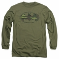 Batman adult long-sleeved shirt Distressed Camo Shield military green