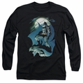 Batman adult long-sleeved shirt Glow Of The Moon black