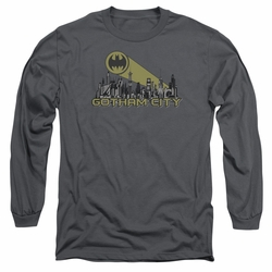Batman adult long-sleeved shirt Gotham Skyline charcoal