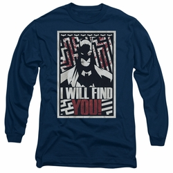 Batman adult long-sleeved shirt I Will Fnd You navy