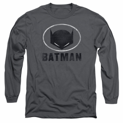 Batman adult long-sleeved shirt Mask In Oval charcoal