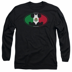 Batman adult long-sleeved shirt Mexican Flag Shield black