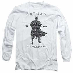 Batman adult long-sleeved shirt Paislety Silhouette white