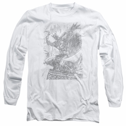 Batman adult long-sleeved shirt Pencil Batarang Throw white