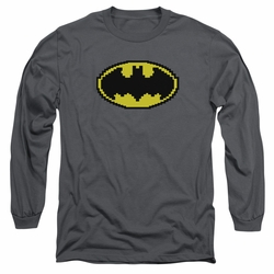 Batman adult long-sleeved shirt Pixel Symbol charcoal