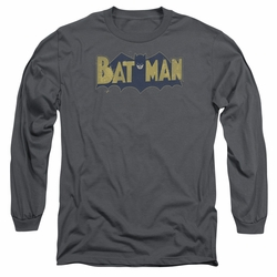 Batman adult long-sleeved shirt Vintage Logo Splatter charcoal