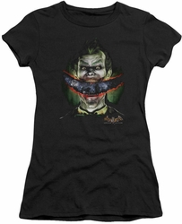 Batman Arkham Asylum juniors t-shirt Joker's Crazy Lips black
