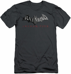 Batman Arkham City slim-fit t-shirt Logo mens charcoal