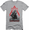 Batman Arkham City slim-fit t-shirt Obey Order mens silver