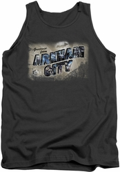 Batman Arkham City tank top Greetings From Arkham adult charcoal