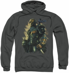 Batman Arkham Origins pull-over hoodie Deathstroke adult charcoal