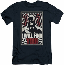 Batman Character slim-fit t-shirt I Will Fnd You mens navy