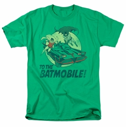 Batman Classic 1966 t-shirt To The Batmobile mens green