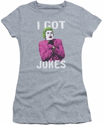 Batman Classic 1966 TV juniors t-shirt Joker Got Jokes athletic heather