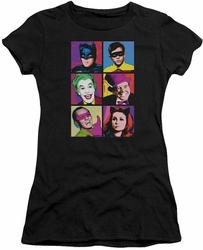 Batman Classic 1966 TV juniors t-shirt Pop Cast black