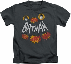 Batman Classic 1966 TV kids t-shirt Sound Effects charcoal