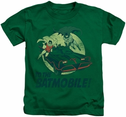 Batman Classic 1966 TV kids t-shirt To The Batmobile kelly green