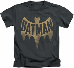 Batman Classic 1966 TV kids t-shirt Vintage Logo charcoal