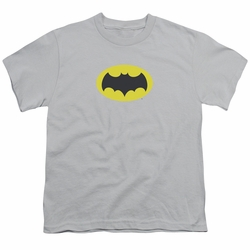 Batman Classic 1966 TV youth teen t-shirt Chest Logo silver