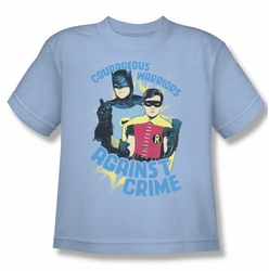 Batman Classic 1966 TV youth teen t-shirt Courageous Warriors light blue